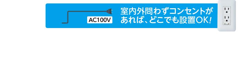 室内外問わずコンセントがあれば、どこでも設置OK! AC100V