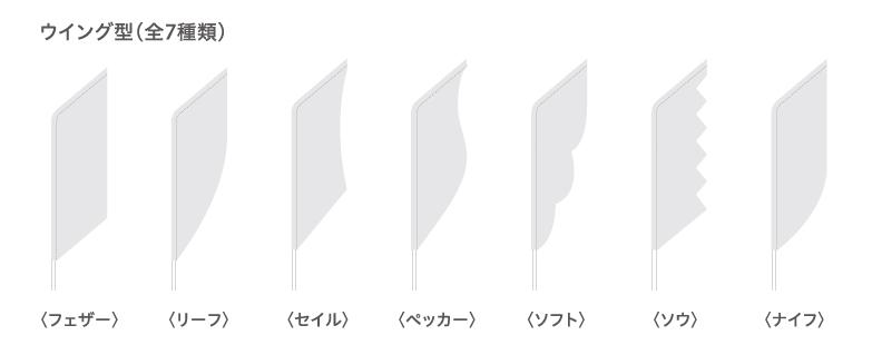 ウイング型(全7種類)〈フェザー〉〈リーフ〉〈セイル〉〈ペッカー〉〈ソフト〉〈ソウ〉〈ナイフ〉