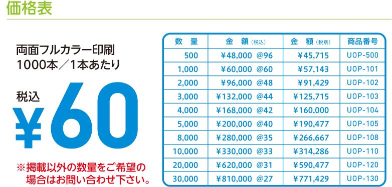 価格表 両面フルカラー印刷 1000本/1本あたり ¥60税込 ※掲載以外の数量をご希望の場合はお問い合わせ下さい。数量 金額 (税込) 金額 (税別) 商品番号